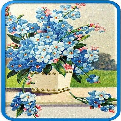 30 Custom Vintage Blue Flowers Personalized Address Labels