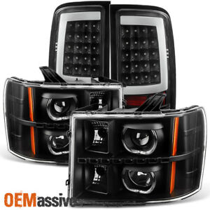 2007-2013 GMC Sierra Black LED Halo Projector Headlights + LED Tail Lights Lamps