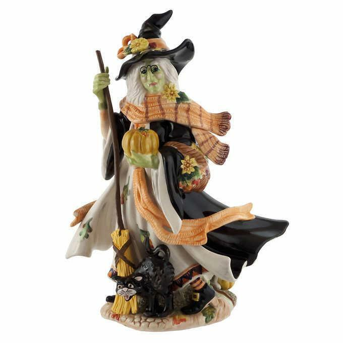 Fitz & Floyd Witch Figurine Broomstick Halloween Harvest Ceramic Hand-Painted