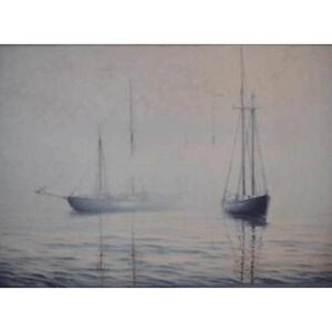 24 x 36 Oil on Canvas Painting - Foggy Lunenburg Morning by Jay Langford - Original Paintings and Art