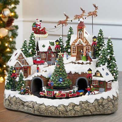 Christmas Holiday Snowy Village Centerpiece LED Lights & Music (120V) FAST SHIP