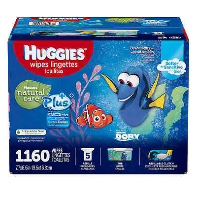 Huggies Natural Care Plus Baby Wipes Box 1120 + 40 = 1160 count Fragrance Free