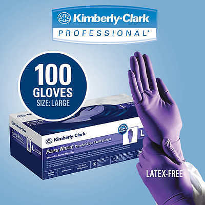 Purple Nitrile Exam Glove  Large  Kimberly Clark Halyard 55083   Box Of 100