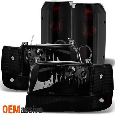 Fit 92-96 Ford Bronce F150 F250 F350 Black Smoked Headlights+Bumper+Tail Lights