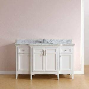 "Cost $1800+ NEW 60"" White Hardwood Black Granite Bathroom Vanity"