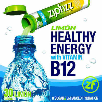 Zipfizz All Natural Energy Drink Mix Limon  30 Tubes    Free Shipping