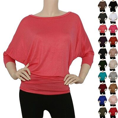 IRON PUPPY Womens 3/4Slv BoatNeck DOLMAN Batwing Top Knit Loose Blouse (Slv Knit Top)