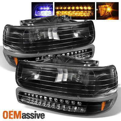 Fits Black 99-06 Silverado Suburban Tahoe Headlights + LED Bumper Signal Lights