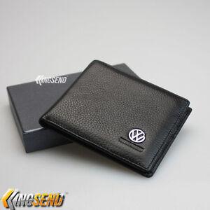 new volkswagen bifold wallet genuine leather mens car purse credit card holder. Black Bedroom Furniture Sets. Home Design Ideas