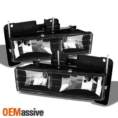 Fits Black 88-99 Chevy GMC C10 C/K Pickup Silverado Sierra Headlights Lamps