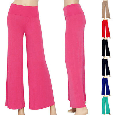 IRON PUPPY Palazzo Fold Over Waist Wide Flare Long Leg Maxi Gaucho Yoga -
