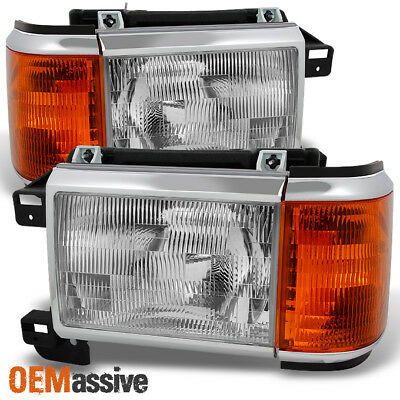 91 Ford F350 Headlight - Fit 87-91 Bronco F-Series Truck Headlights w/ Amber Corner Signal Replacement