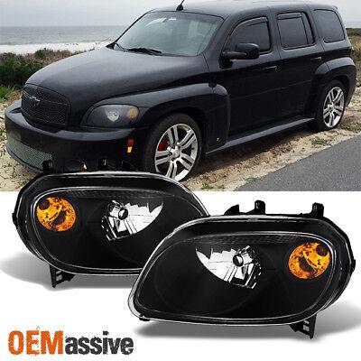 Fits 06-11 Chevy HHR Amber Black Bezel Headlights Headlamps Replacement (2008 Chevrolet Hhr Replacement)