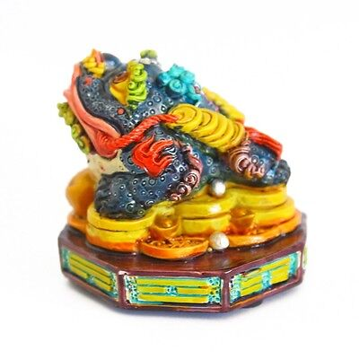 Feng Shui Small Colorful Money Frog Statue 3-legged Money Toad Figurine On BaGua