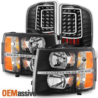 Fit 07-13 Chevy Silverado 1500 2500HD 3500HD Black LED Headlights+Tail Lights