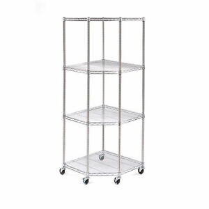 125$obo new Stainless-steel 4-Tier Corner Shelving with  Wheels