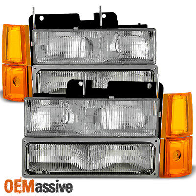 Fit 94-99 GMC C/K Pickup Suburban Sierra Headlights+Bumper+Corner Signal Lights