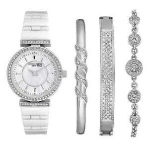 923bd50f3 Anne Klein Women's 30mm Silver Tone Ceramic Watch and 3 Bangle Set 12 /2275svst