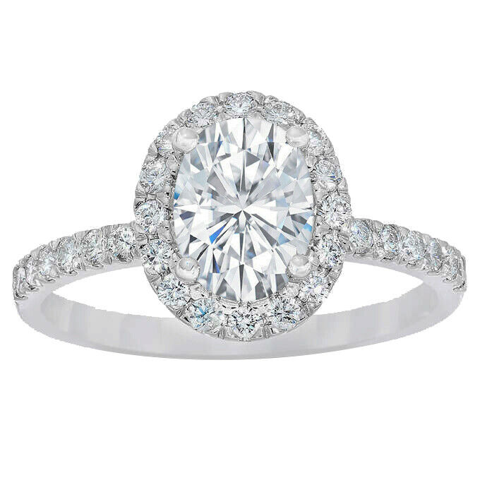 GIA Certified Diamond Engagement Halo Pave Style Ring 1.70 CT Oval Shape 18k