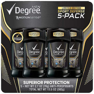 Degree Sport Defense Invisible Solid Antiperspirant Deodorant 5 Count 2 7 Oz New