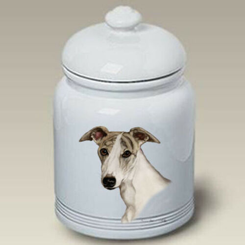 Fawn Brindle Whippet Ceramic Treat Jar TB 34323