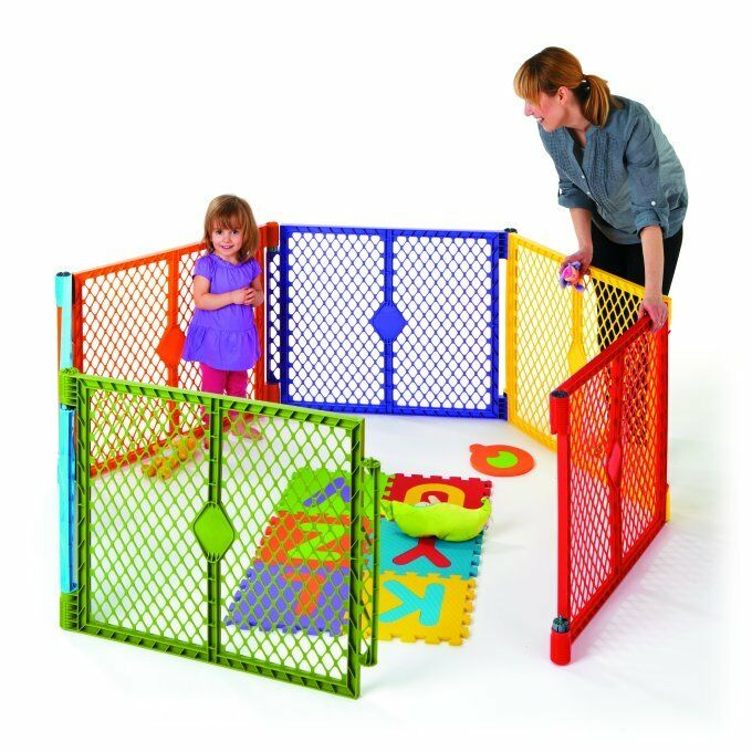 North State Multi-Color Playard 6 Panel Portable Design Superyard Indoor Folding