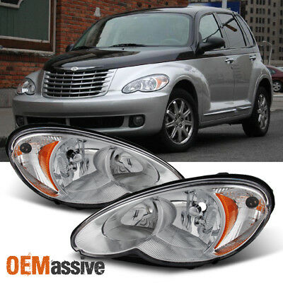 - Fit 2006-2010 Chrysler PT Cruiser Replacement Headlights Lamps Left+Right Pair
