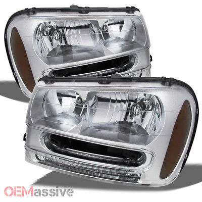 Fit 2002-2009 Chevy Trailblazer SUV Clear Replacement Headlights Front Lamps