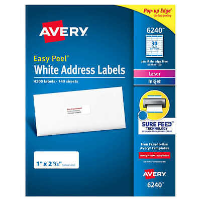 Avery Easy Peel White Address Labels 6240 51608160 - 4200 Labels - Newsealed