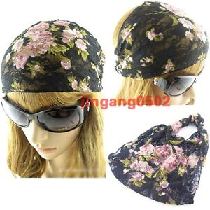 Turban Women Lace flower headband,lady Head wrap girls chic Hair Band,hair wrap