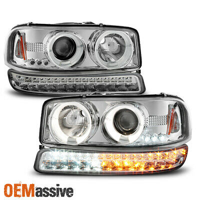- For 1999-2006 GMC Sierra Yukon Halo Projector Head Lamps Pair + LED Signal Lamps