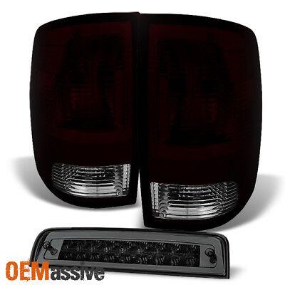 Fits 09-18 Dodge Ram Pickup Red Smoked Tail lights + Smoked LED 3Rd Brake Lamp