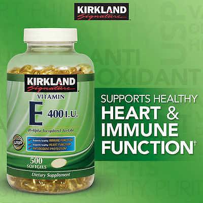 Kirkland Signature Vitamin E 400 IU, 500 Softgels - Antioxidant (EXP 02/2020)