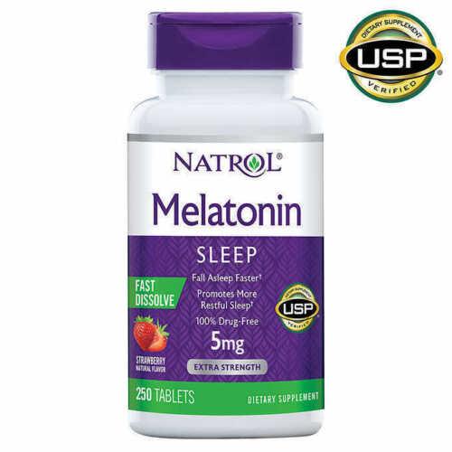 Natrol Melatonin 5mg Fast Dissolve Tablet for Sleeplessness - 250 Strawberry Tab