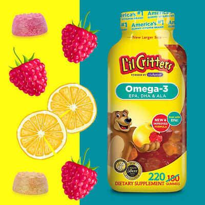 Childrens Gummy (~ SALE ~ L'il Lil Critters Omega-3 DHA, 220 Gummy Bears ~Gluten Free ~ NO TAX ~)