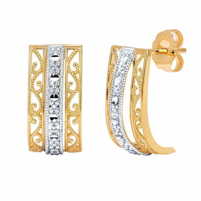 14kt Two-tone Gold Filigree Rectangle Earrings
