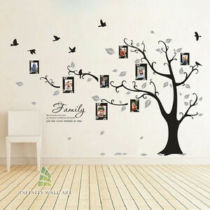 Family Tree Bird Photo Frame Vinyl Nursery Wall Quotes