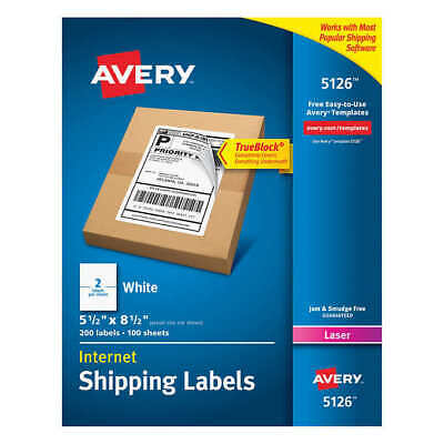 Avery Labels With Trueblock Technology 5-12 X 8-12 200-countmodel Ave5126
