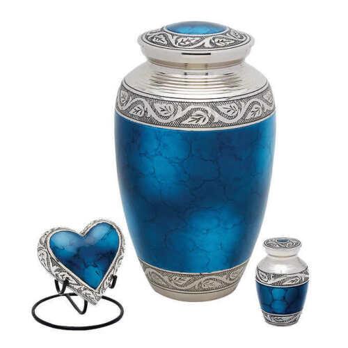 Brand NEW!!! Grecian Blue Brass Urn Set