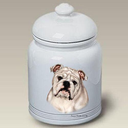 Bulldog White Treat Jar