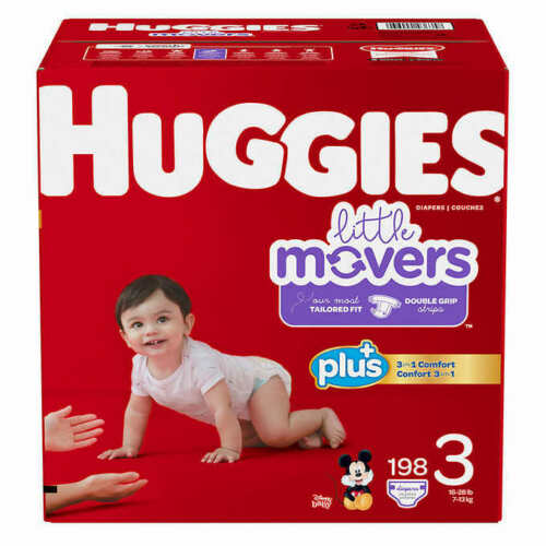 Huggies Little Movers Baby Diapers, Size 3: 16-28lbs, 192 count   CWS
