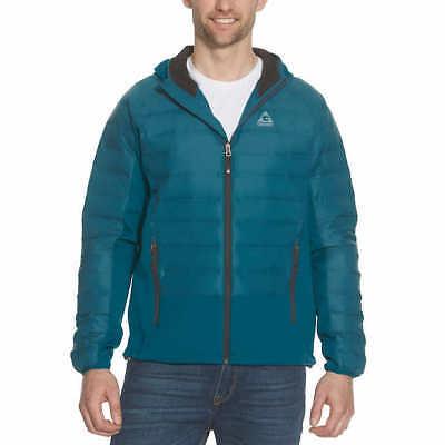 Mens Lightweight Hybrid Jacket - NWT Gerry Men's Hybrid Down Jacket MED Blue Soft Shell Hood Lightweight Puffer