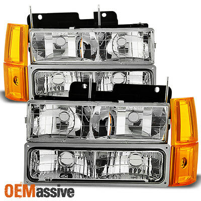 Fit 1994-99 GMC C/K Pickup Suburban Sierra Clear Headlights+Bumper+Corner Lights ()