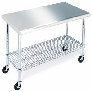Stainless-steel 49 in. Worktable With Wheels