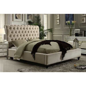 Costco - New Tufted Victoria Beige Upholstered King Bed