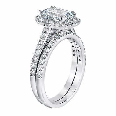 1.45 Ct Halo Emerald Cut Diamond Engagement Ring U-Set Round Accents E,VS2 GIA 3