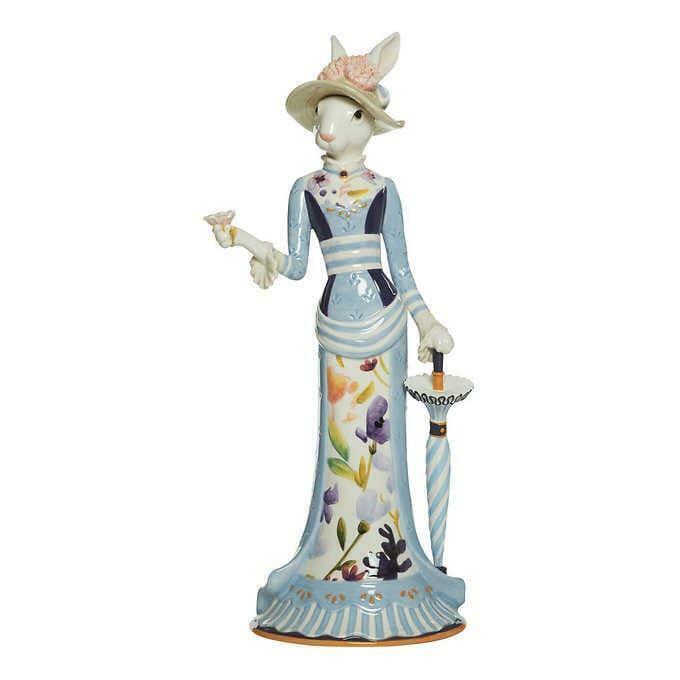 Fitz & Floyd Figurine Female Rabbit Floral Splash Elegant Stylish Spring Easter