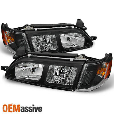 Fits 93-97 Toyota Corolla Black Headlights + Amber Corner Signal Lamps 4pcs Set