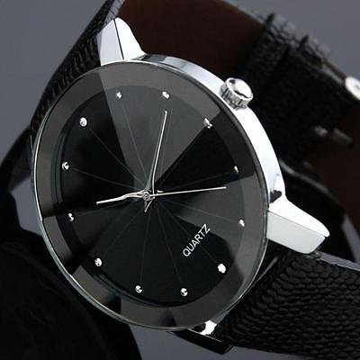 Mens Luxury Sport  Quartz Watch Stainless Steel Dial Leather Wrist Watch Black C