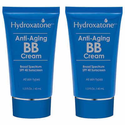 Hydroxatone Anti-aging BB Cream Broad Spectrum SPF 40 Sunscreen 1.5oz (2pack)